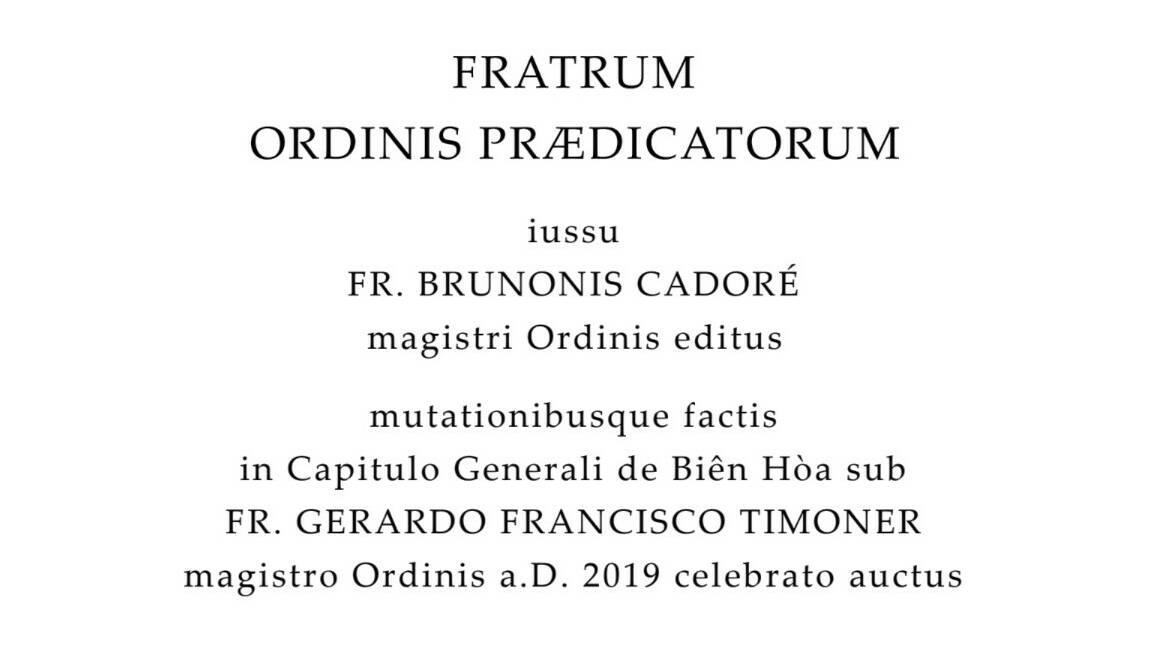 Liber Constitutionum et Ordinationum 2019