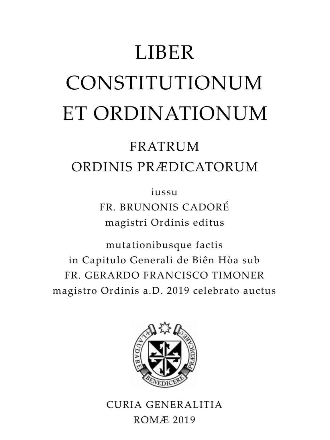 Liber Constitutionum et Ordinationum 2019