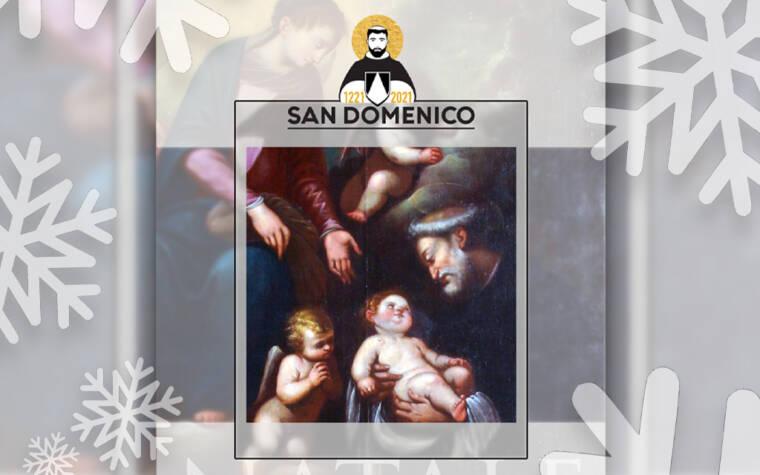 sœur Orsola Maddalena Caccia où l'on voit la Sainte Mère de Dieu qui, à l'image de ces mères qui laissent fièrement leur nouveau-né être porté dans les bras, permet à Saint Dominique de voir et de toucher l'enfant Jésus.