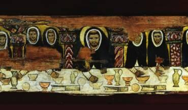 "The table of ""St Dominic at table with his brethren"" in the Church of Santa Maria della Mascarella in Bologna"