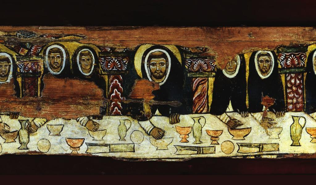 """La Tavola de """"Saint Dominique à table avec ses frères"""" dans l'église de Santa Maria della Mascarella à Bologne"""