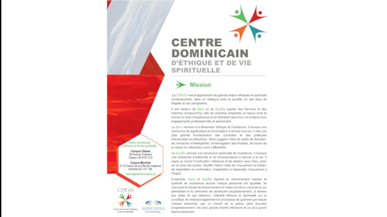 CENTRE DOMINICAIN D'ETHIQUE  ET DE VIE SPIRITUELLE